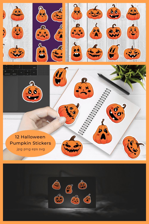 12 Halloween Pumpkin Stickers. Pumpkins with Muzzles. Vector illustrations - MasterBundles - Pinterest Collage Image.