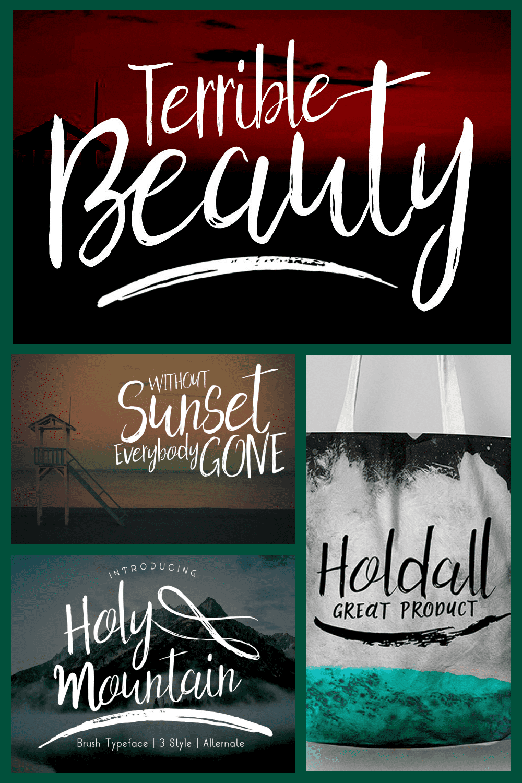 Holy Mountain Brush Script - MasterBundles - Pinterest Collage Image.