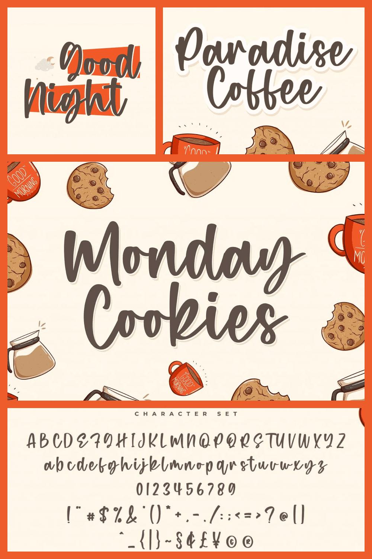 Monday Cookies - A Handwritten Script Font - MasterBundles - Pinterest Collage Image.