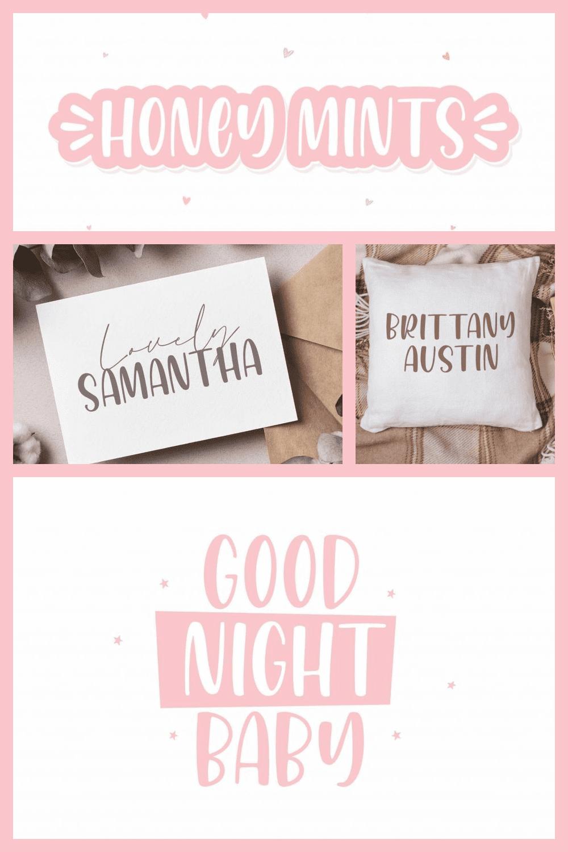 Honey Mints - A Handwritten Font - MasterBundles - Pinterest Collage Image.