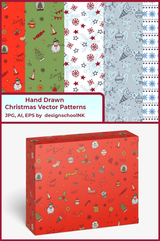 Hand Drawn Christmas Vector Patterns - MasterBundles - Pinterest Collage Image.