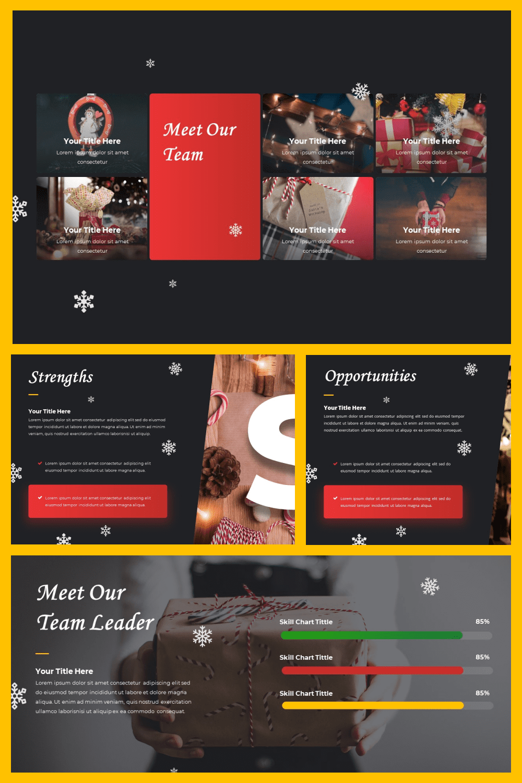 Merry Christmas Powerpoint Presentation Template - MasterBundles - Pinterest Collage Image.