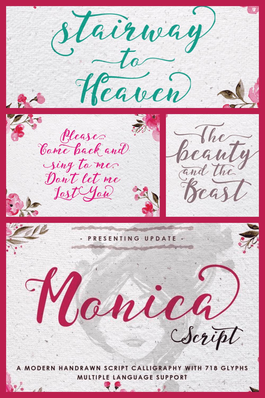 Monica Calligraphy Font - MasterBundles - Pinterest Collage Image.