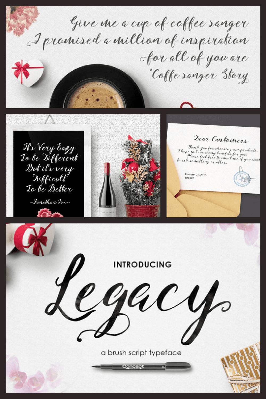 Casual Legacy Font - MasterBundles - Pinterest Collage Image.