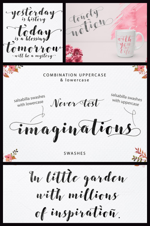 Salsabilla Script Font - MasterBundles - Pinterest Collage Image.