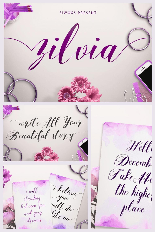 Zilvia Modern Calligraphic Typeface - MasterBundles - Pinterest Collage Image.