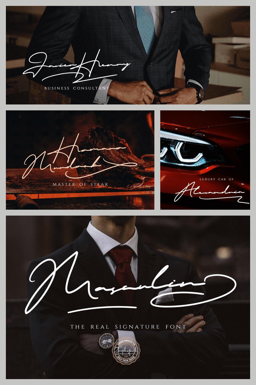 MASCULIN – The Real Signature Font - MasterBundles - Pinterest Collage Image.