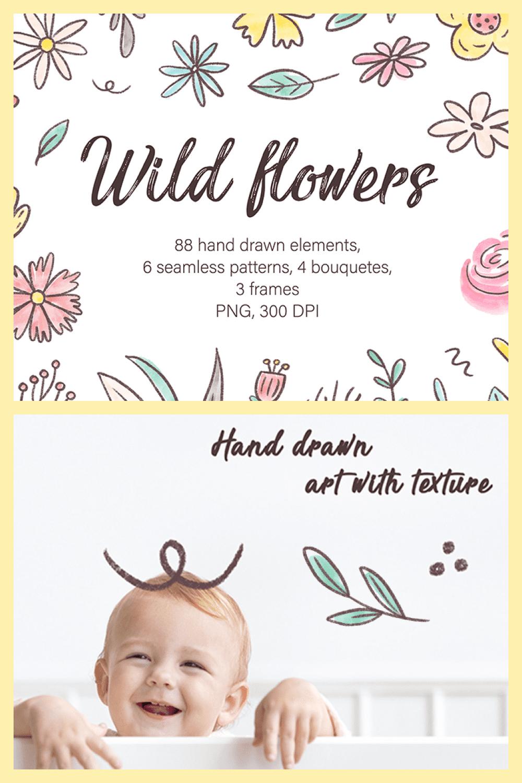 Wild Flowers, Watercolor Clipart, Hand Drawn Illustrations - MasterBundles - Pinterest Collage Image.