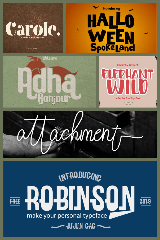 Vintage Font Bundle Deal - MasterBundles - Pinterest Collage Image.