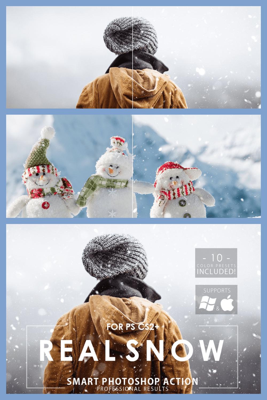 Real Snow Photoshop Action - MasterBundles - Pinterest Collage Image.