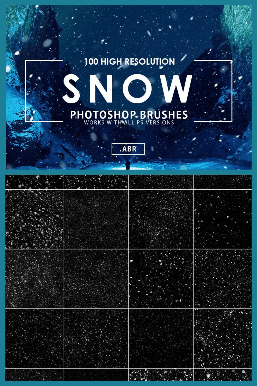 100 Snow Photoshop Brushes - MasterBundles - Pinterest Collage Image.