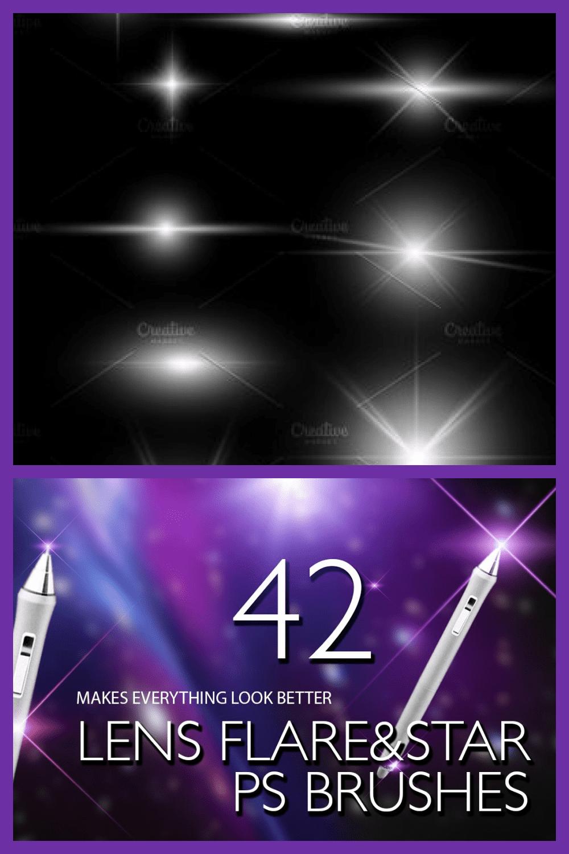 Lens Flare & Stars Photoshop Brushes - MasterBundles - Pinterest Collage Image.