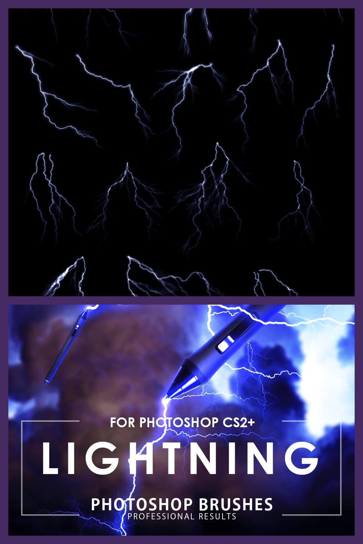 Lightning Photoshop Brushes - MasterBundles - Pinterest Collage Image.