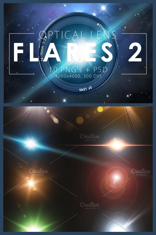 10 Optical Lens Flares Pack - MasterBundles - Pinterest Collage Image.