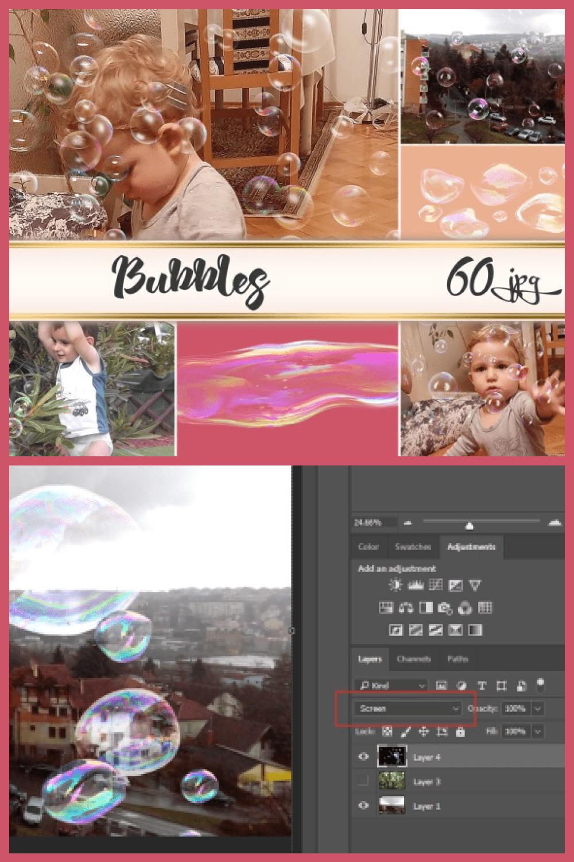 Soap Bubbles Overlays - MasterBundles - Pinterest Collage Image.