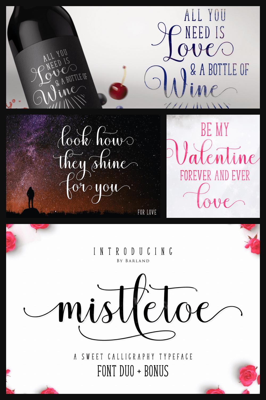 Mistletoe Font Duo Modern Font - MasterBundles - Pinterest Collage Image.
