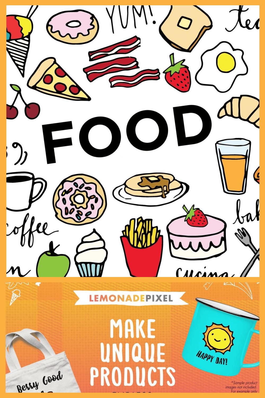 Yummy Food Illustrations - MasterBundles - Pinterest Collage Image.