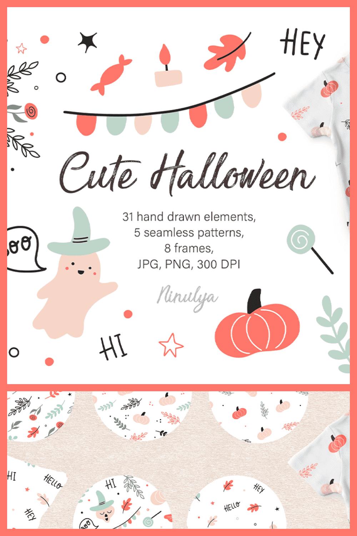 Cute Happy Halloween Clipart, Digital paper, Seamless Patterns, Frames, PNG - MasterBundles - Pinterest Collage Image.