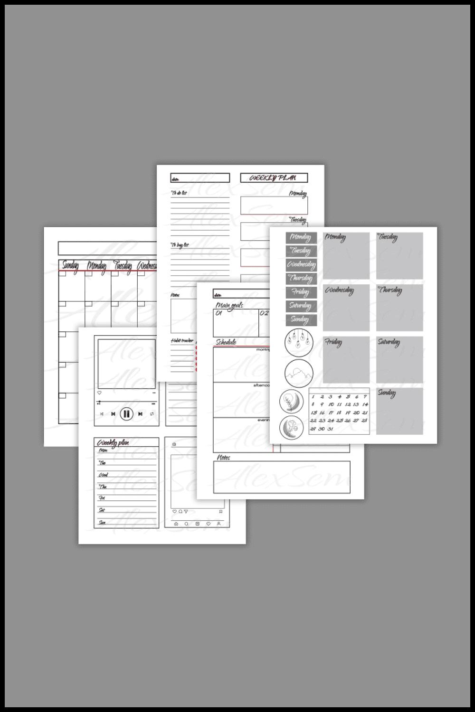 Personal Planner PDF - MasterBundles - Pinterest Collage Image.