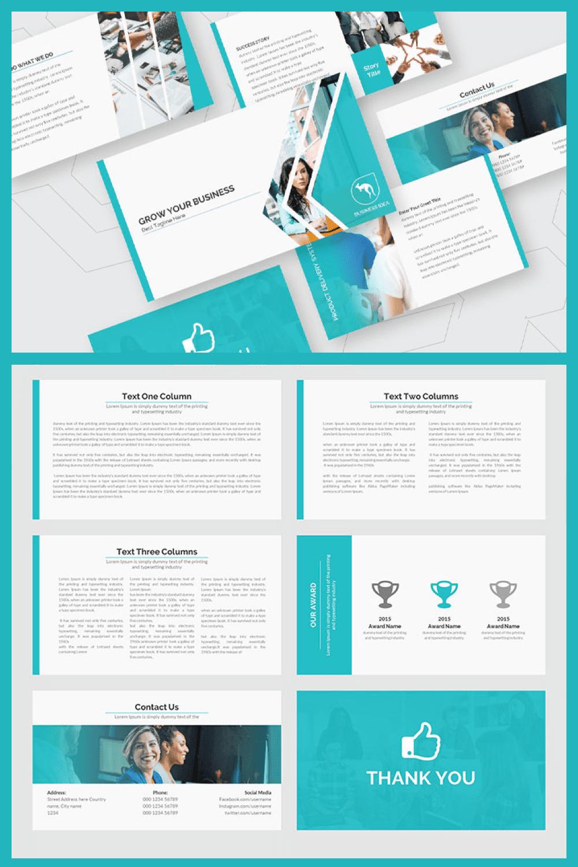 Business Growth PowerPoint Presentation Template - MasterBundles - Pinterest Collage Image.
