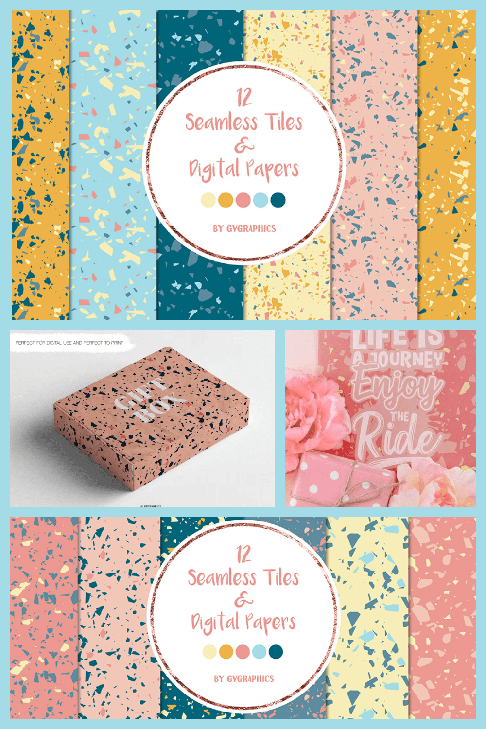 Terrazzo Seamless Tiles and Digital Papers, Colorful patterns - MasterBundles - Pinterest Collage Image.
