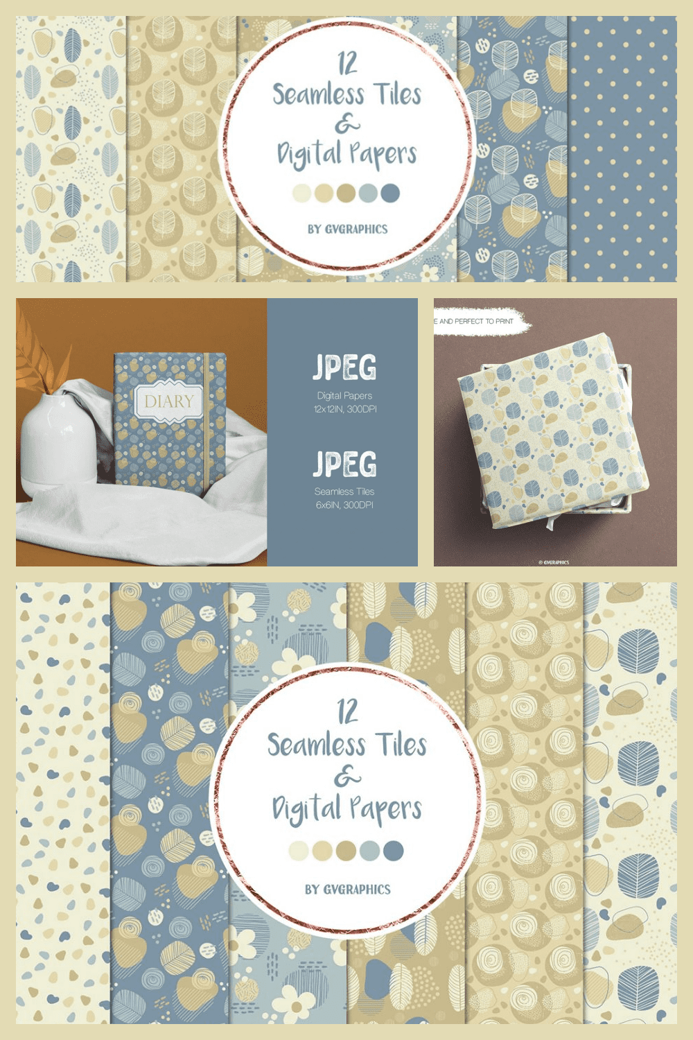 Doodle Nature Seamless Tiles & Digital Papers, Blue and Brown backgrounds - MasterBundles - Pinterest Collage Image.