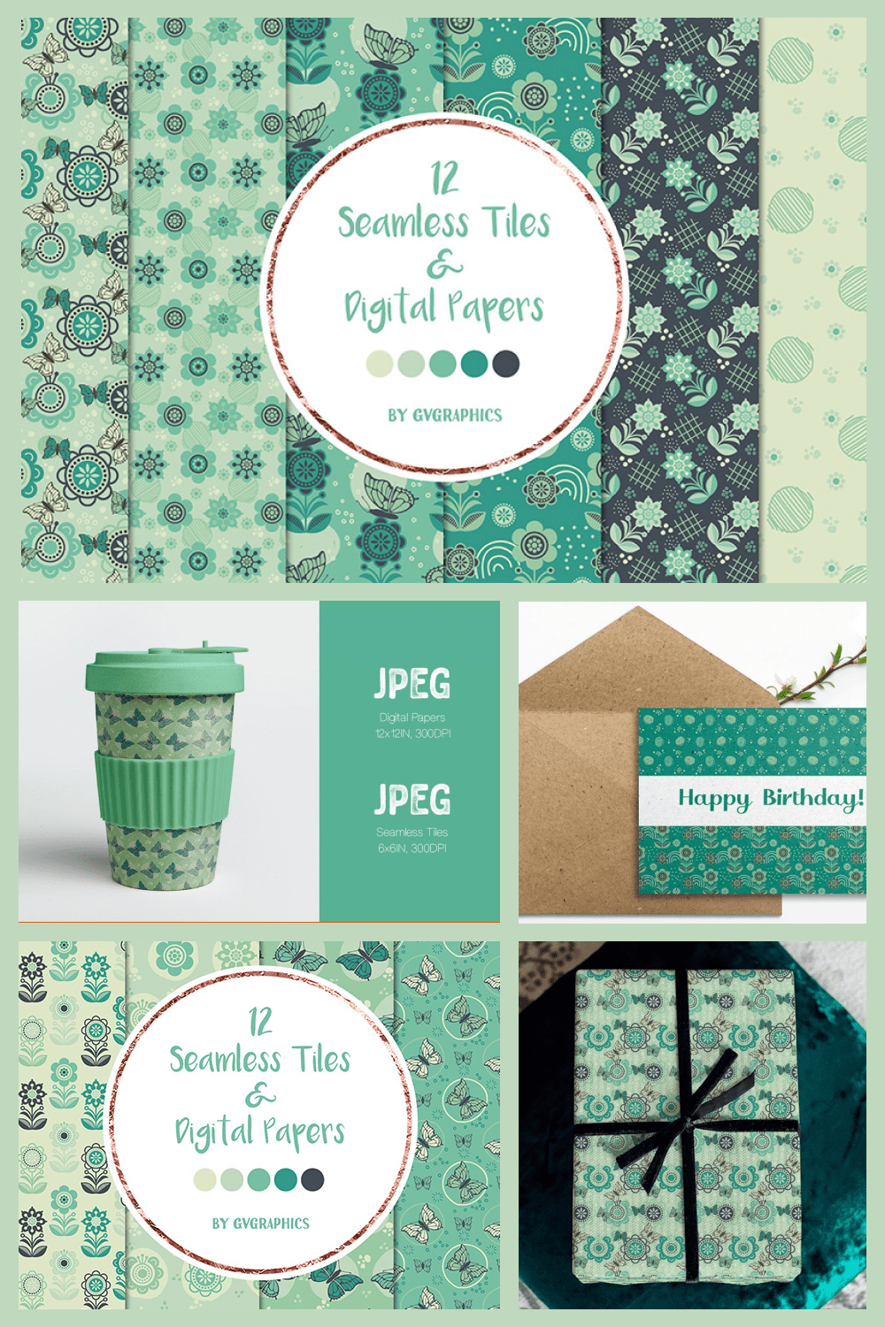 Blue Flowers, Butterflies and Doodles, Seamless Tiles and Digital Papers - MasterBundles - Pinterest Collage Image.