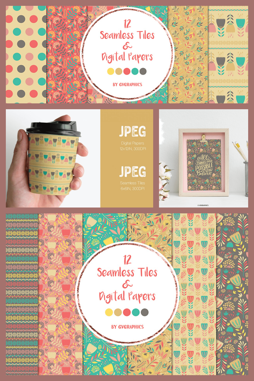 Abstract Flowers Seamless tiles and Digital papers - MasterBundles - Pinterest Collage Image.