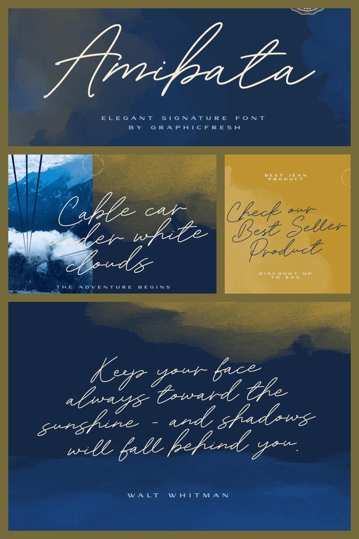 Amibata - Elegant Signature Font - MasterBundles - Pinterest Collage Image.