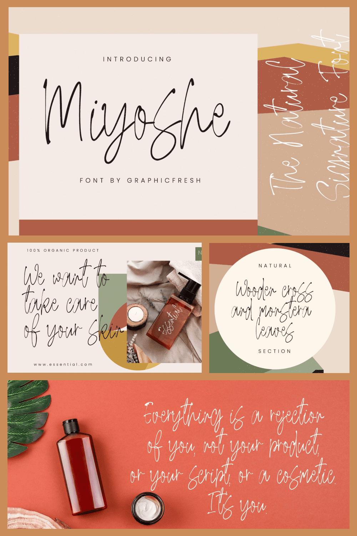 Miyoshe - The Natural Signature Font - MasterBundles - Pinterest Collage Image.