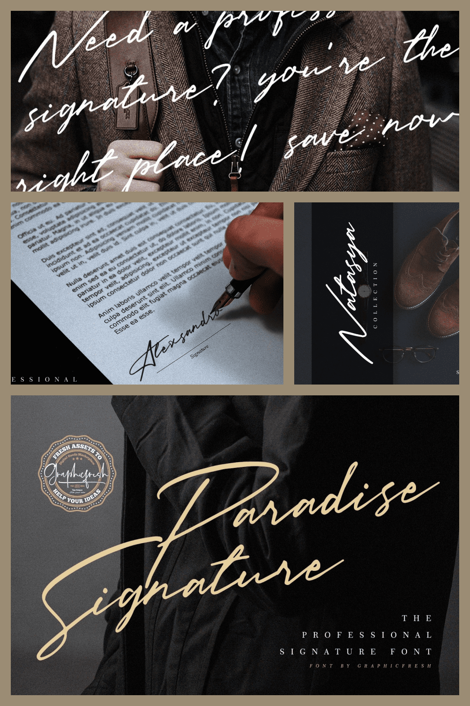 Paradise Signature Font - MasterBundles - Pinterest Collage Image.