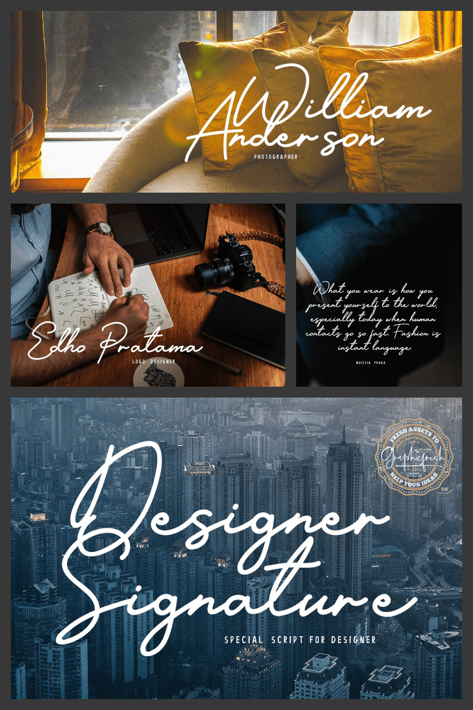 Designer Signature Font - MasterBundles - Pinterest Collage Image.