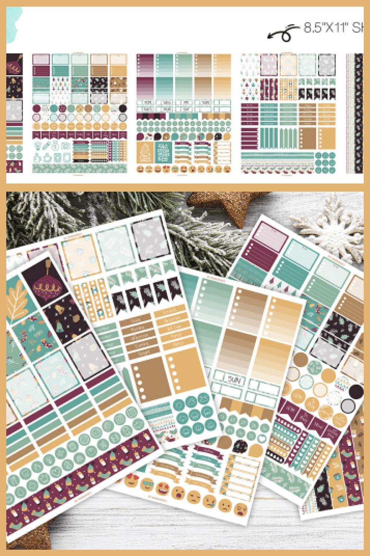 5 Sheets of Winter Christmas Sticker Printables - MasterBundles - Pinterest Collage Image.