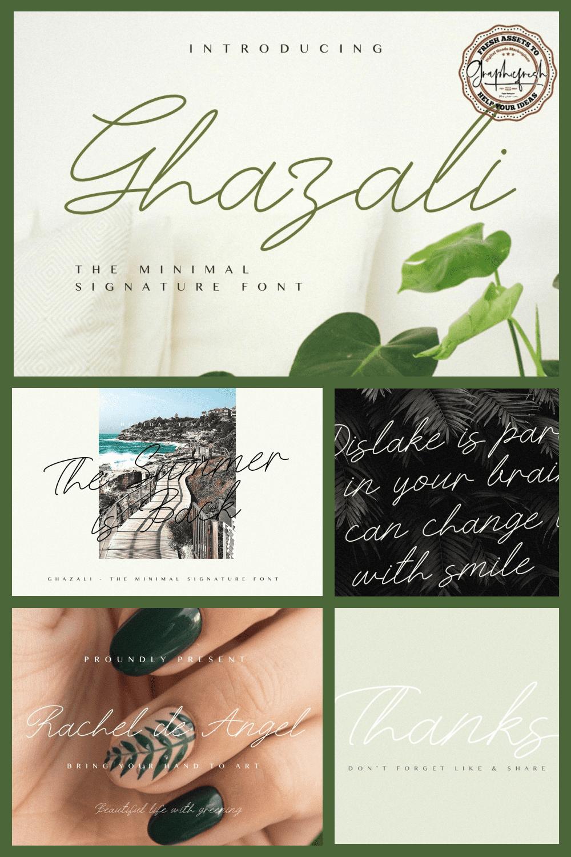 Ghazali - The Minimal Signature Font - MasterBundles - Pinterest Collage Image.