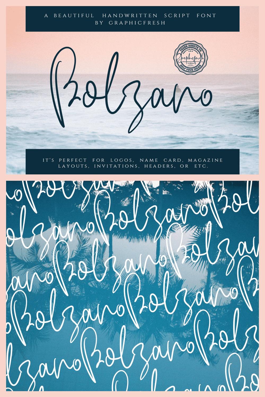 Bolzano - A Beautiful Script Font - MasterBundles - Pinterest Collage Image.