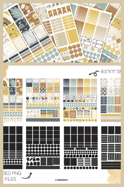 4 Sheets of Fall Sticker Printables - MasterBundles - Pinterest Collage Image.