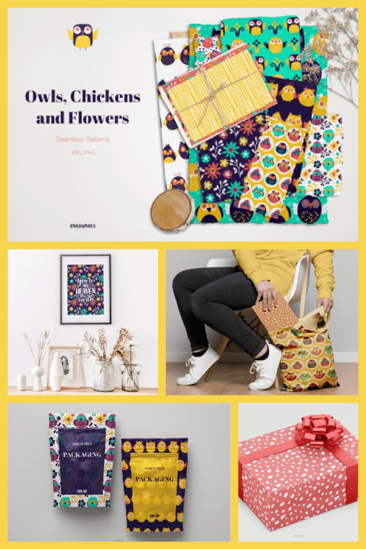 Owls, Chickens and Flower Patterns - MasterBundles - Pinterest Collage Image.