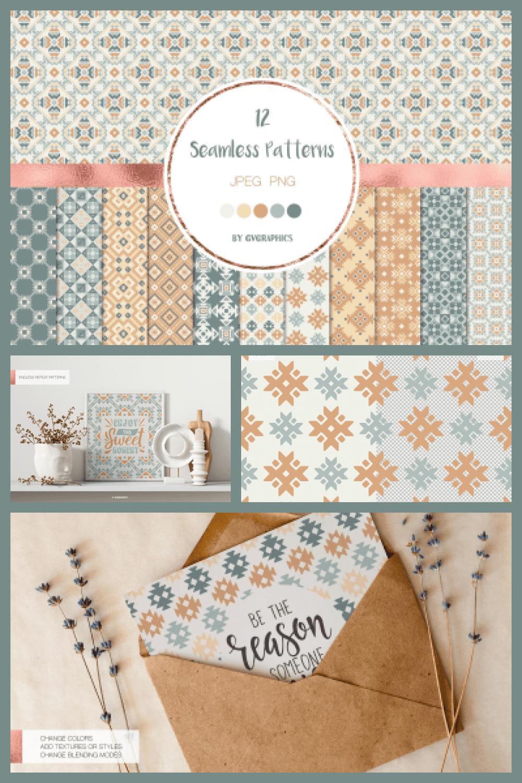 Geometrical Ornaments Seamless Patterns - MasterBundles - Pinterest Collage Image.