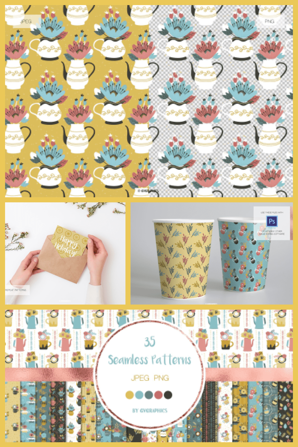 Flowers and Time for Teapots Patterns - MasterBundles - Pinterest Collage Image.