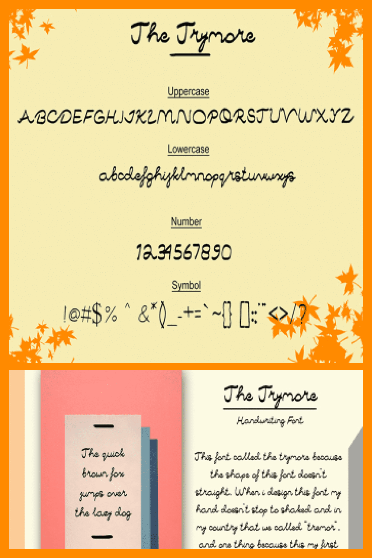 The Trymore Handwriting Font - MasterBundles - Pinterest Collage Image.