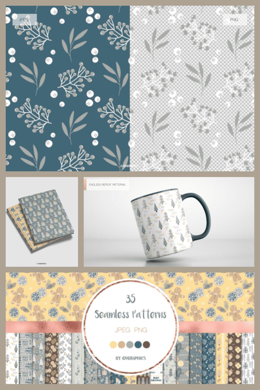 Merry Christmas Seamless Patterns - MasterBundles - Pinterest Collage Image.