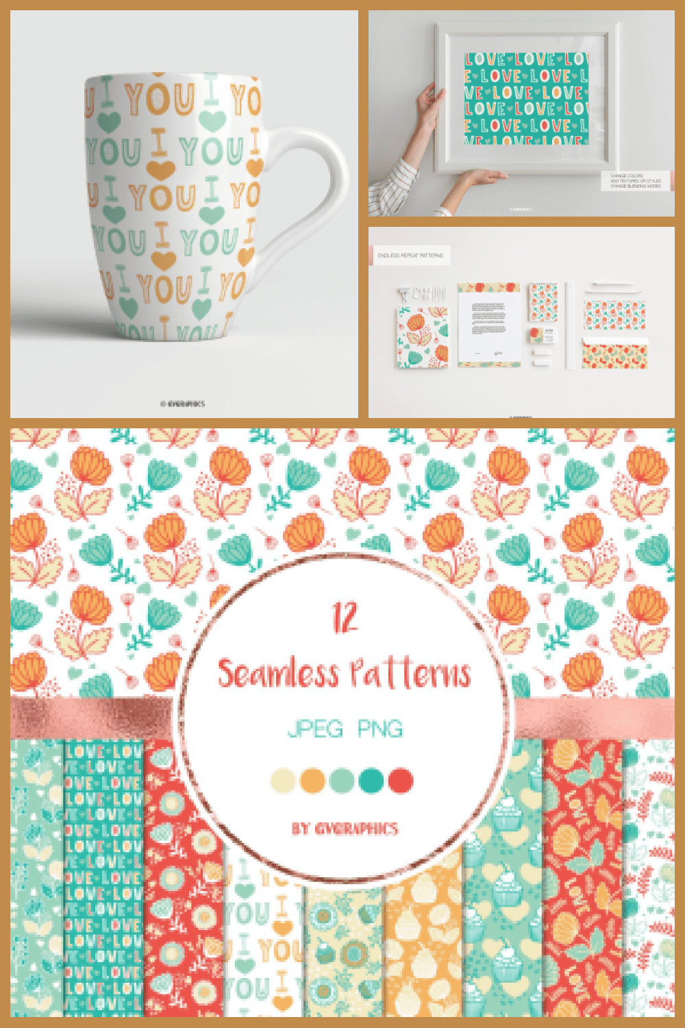 Love, Muffins and Flowers Seamless Patterns - MasterBundles - Pinterest Collage Image.