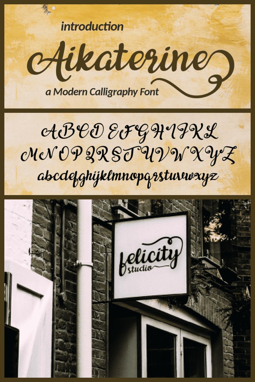 Aikaterine Modern Script Font - MasterBundles - Pinterest Collage Image.