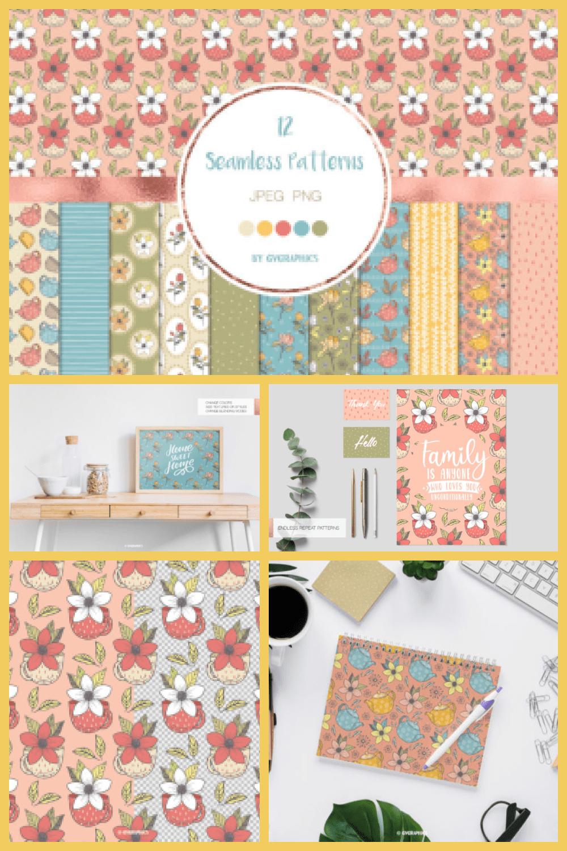 Teapots, Teacups and Flowers Seamless Patterns - MasterBundles - Pinterest Collage Image.