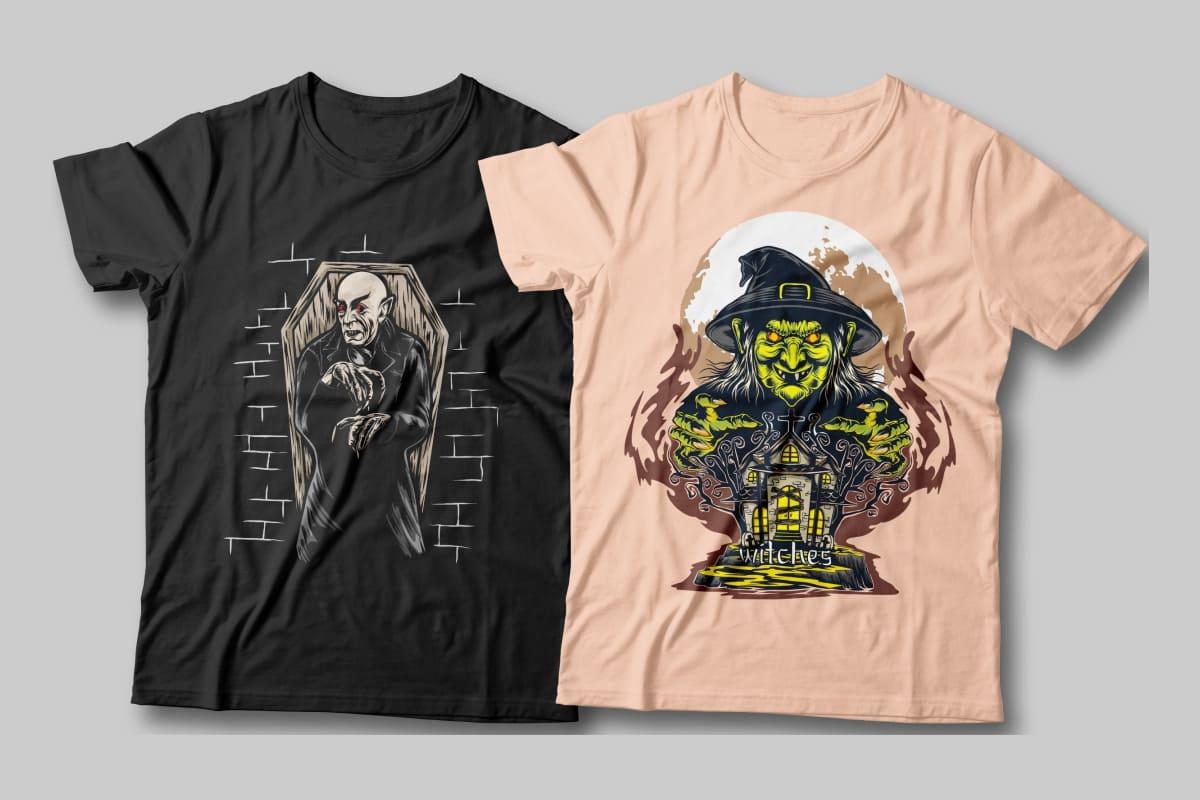 halloween t-shirt designs witch.
