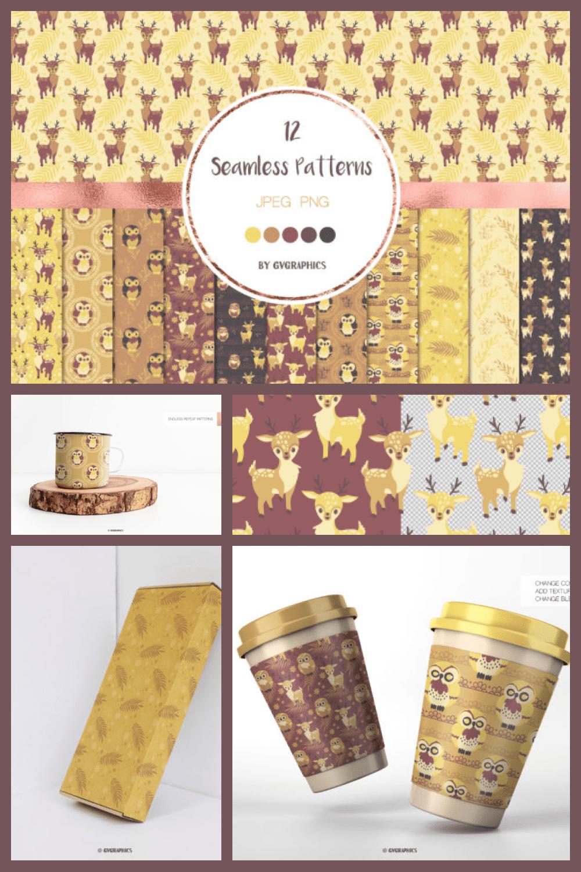 Animals in the Woods Seamless Patterns - MasterBundles - Pinterest Collage Image.