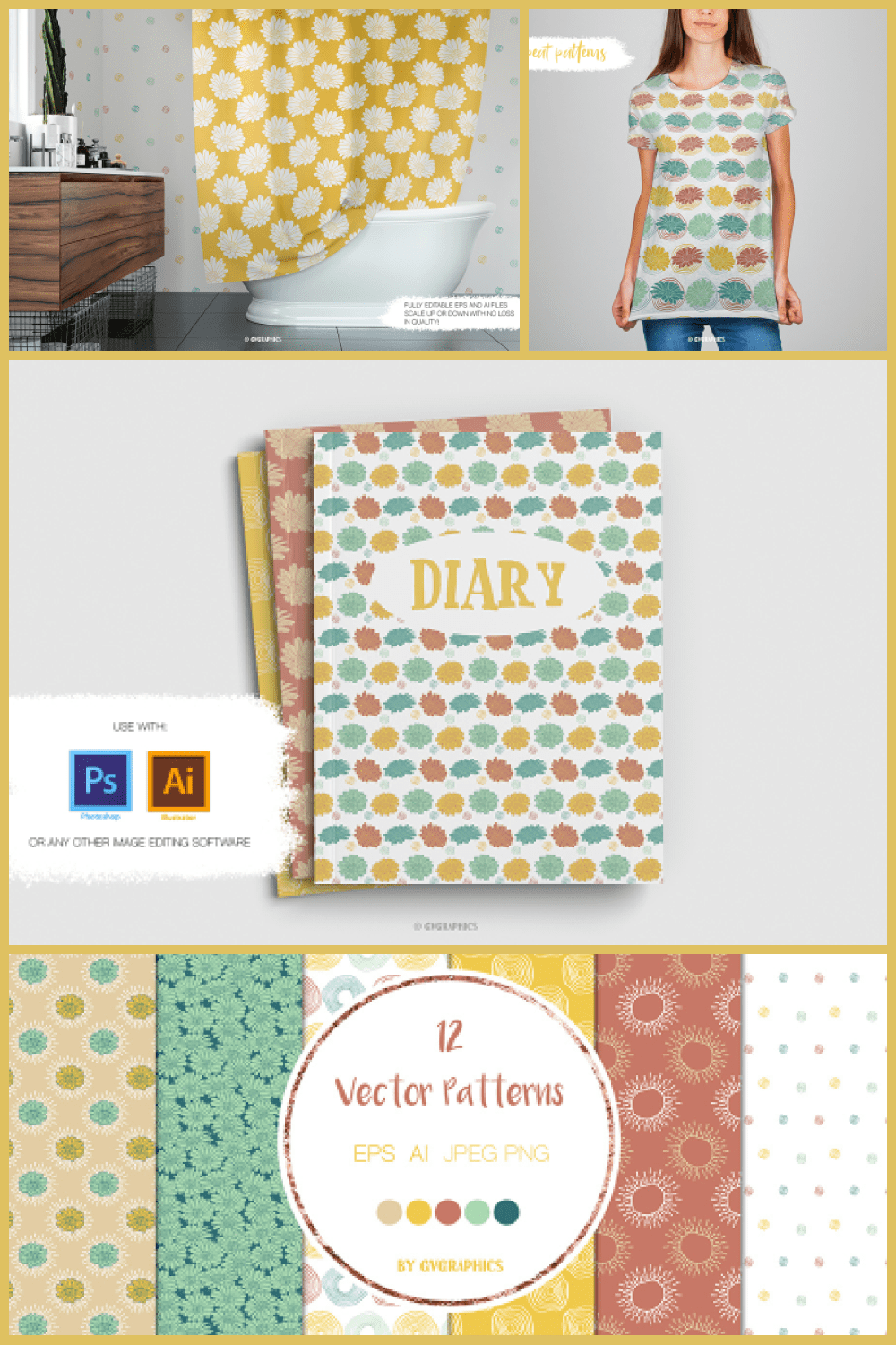 Colorful Flowers and Doodles Vector Patterns and Seamless Tiles - MasterBundles - Pinterest Collage Image.