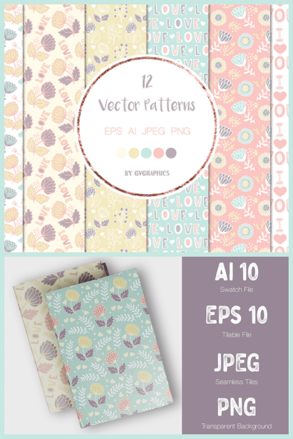 Happy Valentine's Day Vector Patterns and Seamless Tiles - MasterBundles - Pinterest Collage Image.