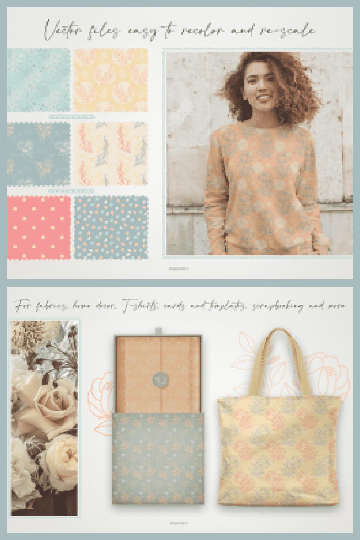 Elegant Summer Roses Vector Patterns - MasterBundles - Pinterest Collage Image.