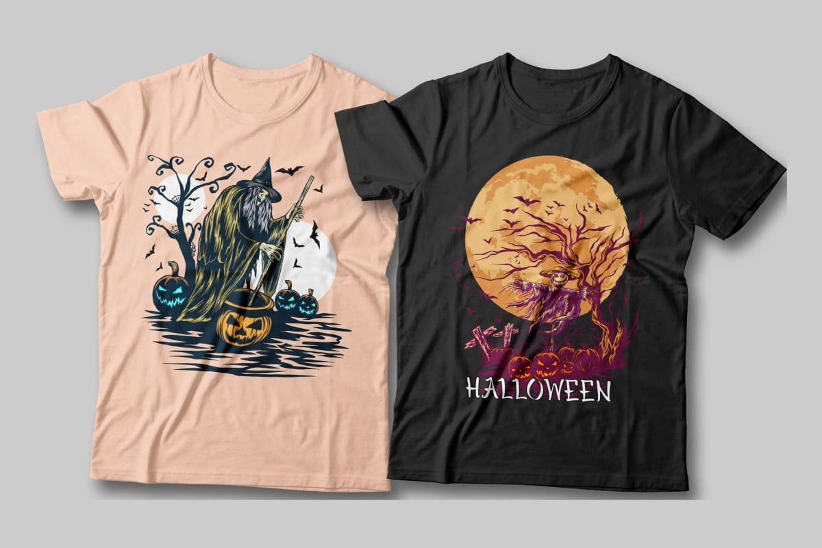 Halloween Spooky Illustration T-shirt Designs Bundle.
